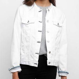 rag & bone/JEAN Collarless White Denim Jacket
